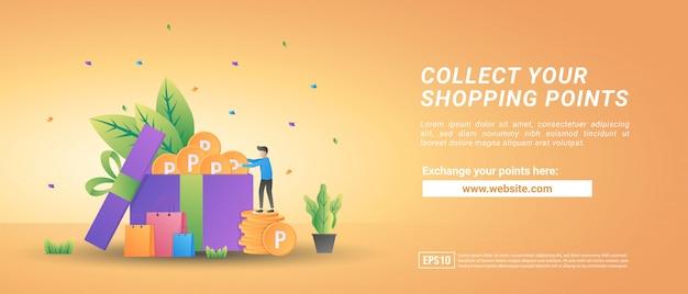 Zbieraj Punkty Zakupów Online. Zamień Punkty Na Kupony. Program Nagród Dla Lojalnych Klientów Premium Wektorów