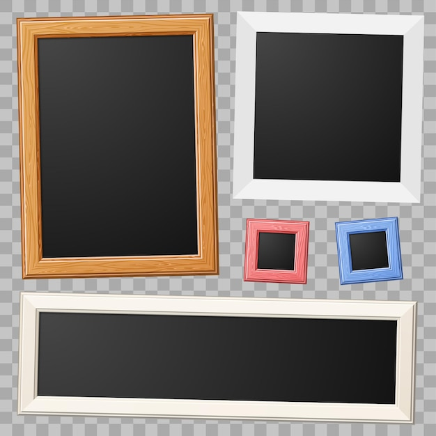Zbierz Drewniane I Papierowe Ramki Do Zdjęć Premium Wektorów