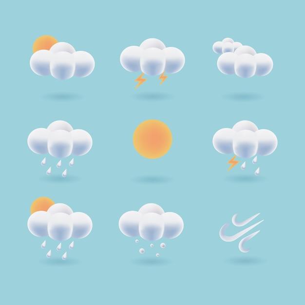 Zbiór 3d Ikony Pogody. Puszysty Wektor Chmury. Prognoza Pogody Symbol Interfejsu Użytkownika Projektu. Premium Wektorów