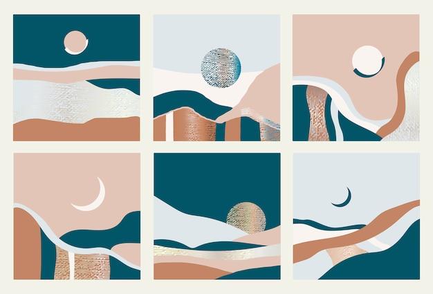 Zbiór Abstrakcyjnych Krajobrazów. Ilustracji Wektorowych. Premium Wektorów