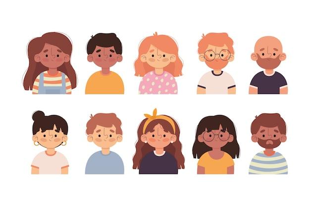 Zbiór Awatarów Ilustrowanych Ludzi Darmowych Wektorów