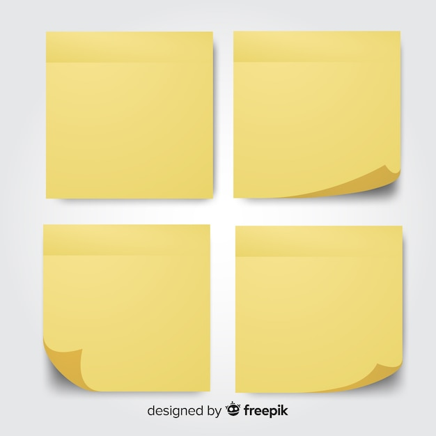 Zbiór czterech notatek pocztowych w realistycznym stylu Darmowych Wektorów