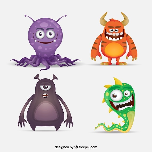 Zbiór Czterech Zabawnych Postaci Potwora Darmowych Wektorów