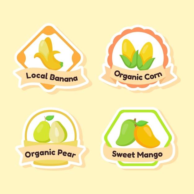 Zbiór Etykiety Owoce Na żółtym Tle Premium Wektorów