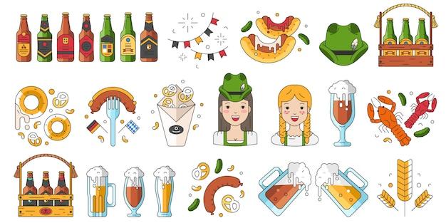 Zbiór ikon na uroczystości oktoberfest Premium Wektorów