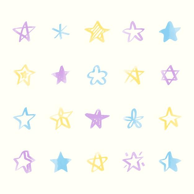 Zbiór ilustrowanych ikon gwiazd Darmowych Wektorów