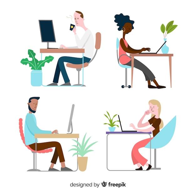 Zbiór ilustrowanych osób pracujących przy biurkach Darmowych Wektorów