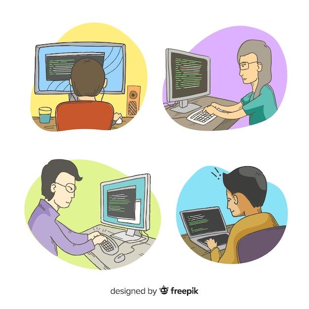 Zbiór ilustrowanych programistów pracujących Darmowych Wektorów