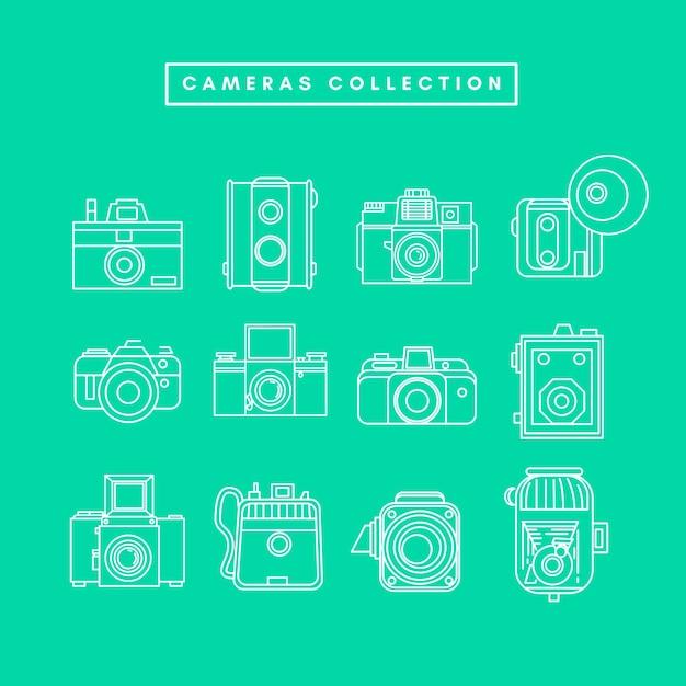 Zbiór kamer vintage Premium Wektorów