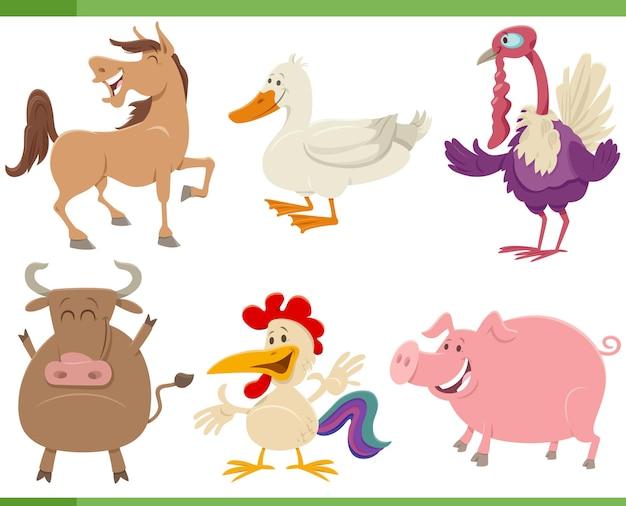 Zbiór Kreskówek Zabawnych Postaci Zwierząt Gospodarskich Premium Wektorów