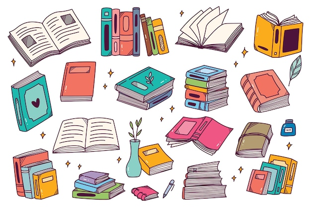 Zbiór Książek Wyciągnąć Rękę Doodle Premium Wektorów