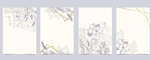 Zbiór Kwiatów Tła Z Lawendy, Magnolii. Premium Wektorów