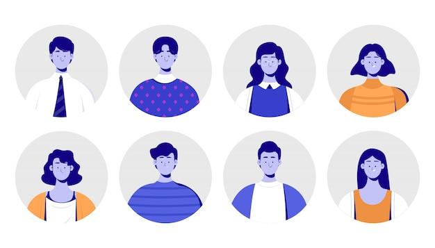 Zbiór Ludzi Avatar Premium Wektorów