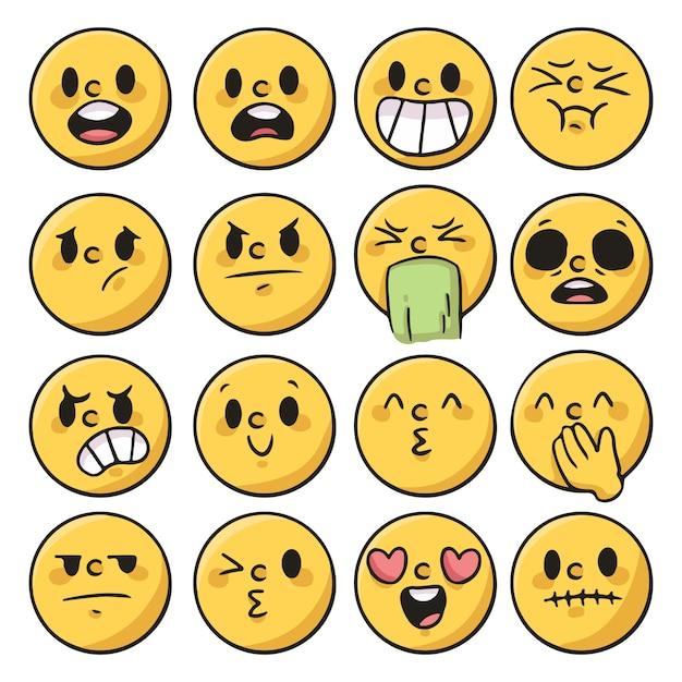 Zbiór Ludzi Emocji, Reakcja Kreskówka Premium Wektorów