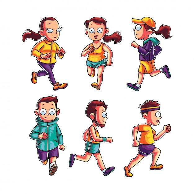 Zbiór ludzi joggingu Premium Wektorów