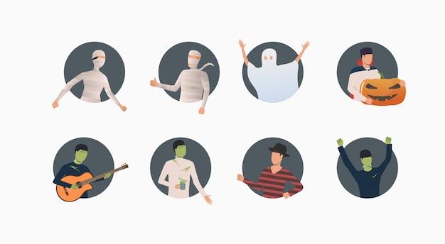Zbiór ludzi w kostiumach na halloween Darmowych Wektorów
