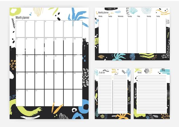 Zbiór Miesiąca, Cotygodniowy Planer, Lista Zadań Do Wykonania I Miejsce Na Szablony Notatek Z Kolorowymi Plamami Farby I Pociągnięciami Pędzla Premium Wektorów