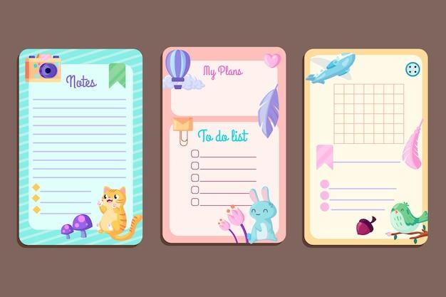 Zbiór Notatek I Kart W Notatniku Darmowych Wektorów