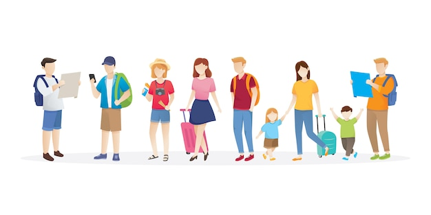 Zbiór osób podróżujących Premium Wektorów