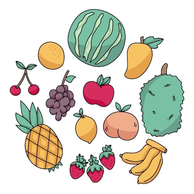 Zbiór owoców bazgroły Premium Wektorów