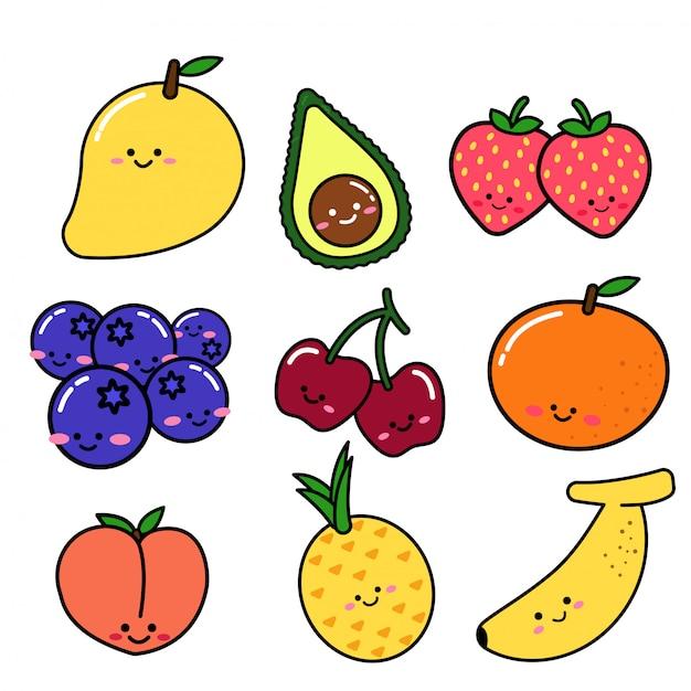Zbiór owoców w stylu doodle Premium Wektorów