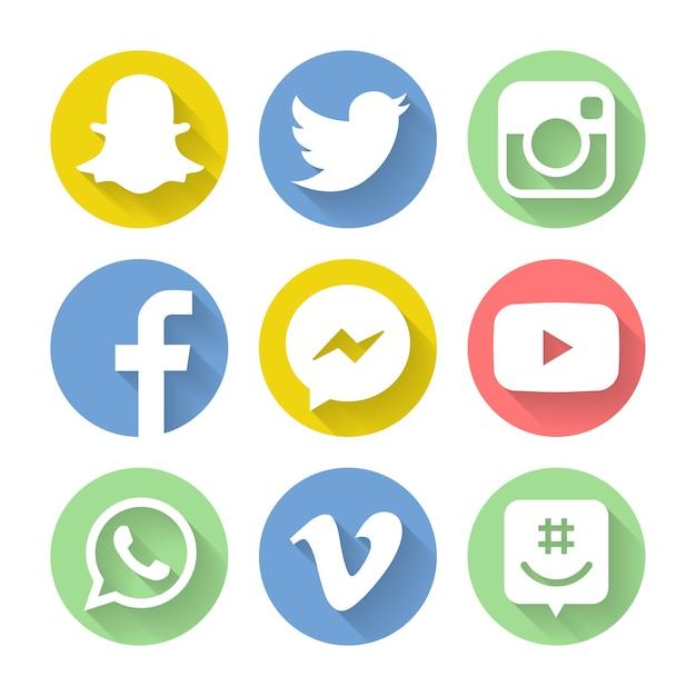 Zbiór Popularnych Ikon Mediów Społecznościowych Premium Wektorów