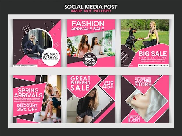 Zbiór postów w mediach społecznościowych Premium Wektorów