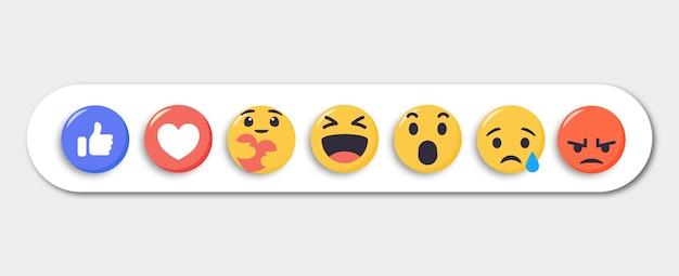 Zbiór Reakcji Emoji Dla Mediów Społecznościowych Premium Wektorów