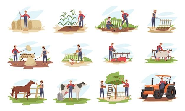 Zbiór Rolników Lub Pracowników Rolnych Sadzących Rośliny, Zbierających Plony, Zbierających Jabłka, Karmiących Zwierzęta Hodowlane, Noszących Owoce, Pracujących Na Ciągniku. Premium Wektorów