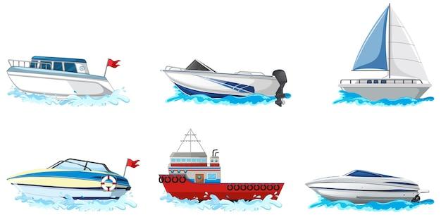Zbiór Różnego Rodzaju łodzi I Statków Na Białym Tle Darmowych Wektorów