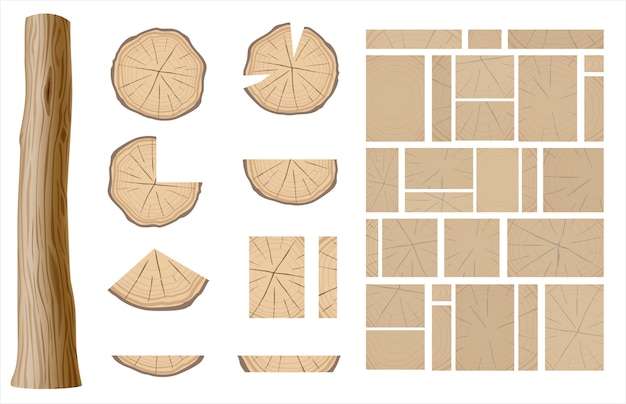 Zbiór różnych drewnianych tekstur Premium Wektorów