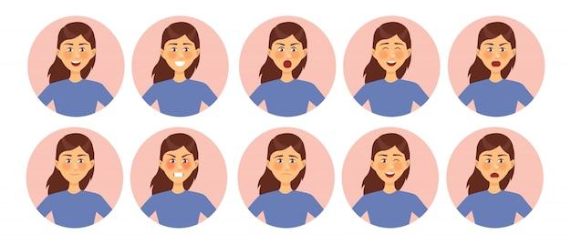 Zbiór Różnych Emocji Kobiecych Postaci Premium Wektorów