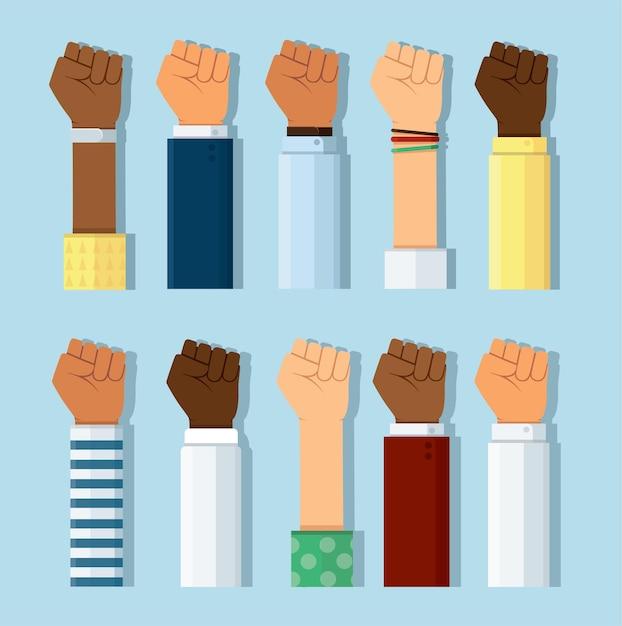 Zbiór Różnych Kolorów Skóry Pięści Ręce Podnoszą Się Premium Wektorów