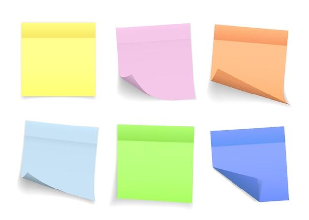 Zbiór Różnych Kolorowych Arkuszy Notatek Z Zawiniętym Rogiem I Cieniem, Gotowy Do Przesłania Wiadomości. Premium Wektorów