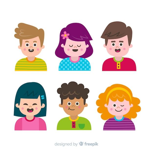 Zbiór różnych ludzi z kreskówek Darmowych Wektorów