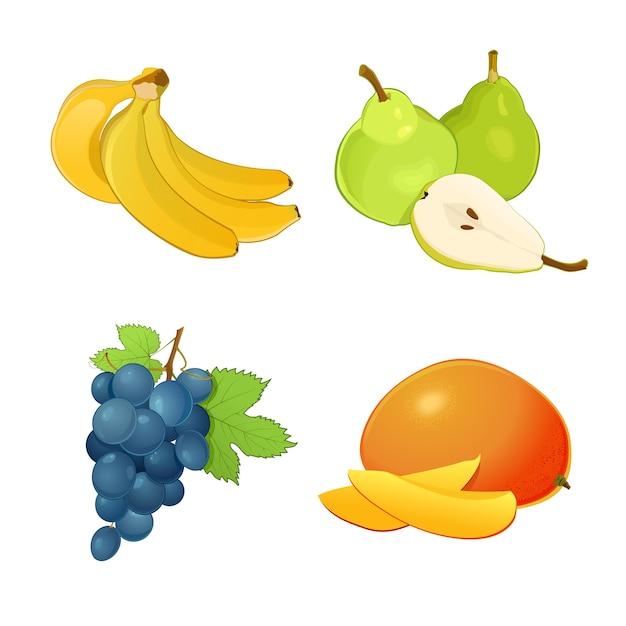 Zbiór Różnych Owoców Z Liśćmi. Banany, Winogrona, Mango I Gruszki. Całe Owoce I Połówki Premium Wektorów