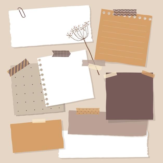 Zbiór Różnych Papierów Do Notatek. Kolorowe Karteczki. Premium Wektorów