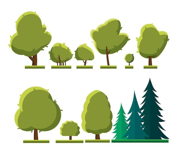Zbiór Różnych Rodzajów Drzew. Zbiór Drzew I Krzewów Na Białym Tle. Premium Wektorów