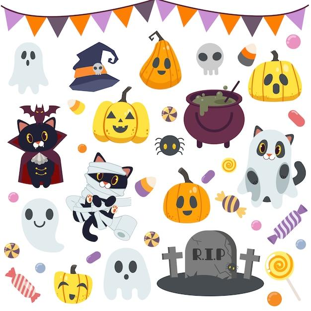 Zbiór słodkich cukierków na imprezie z okazji halloween Premium Wektorów