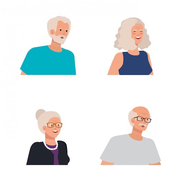 Zbiór Starych Kobiet I Mężczyzn Ludzi Premium Wektorów