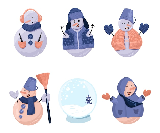 Zbiór świątecznych Bałwanów śmieszne I Pustej Szklanej Kuli śnieżnej, Wyciągnąć Rękę Na Białym Tle Na Białym Tle Premium Wektorów
