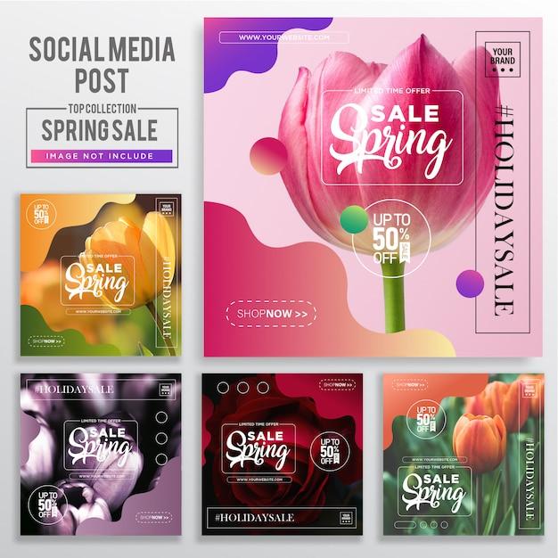 Zbiór Szablonów Postów Mediów Społecznościowych Premium Wektorów