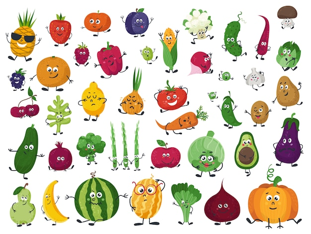 Zbiór warzyw, owoców i jagód w stylu cartoon Premium Wektorów