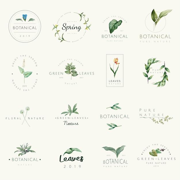 Zbiór wektorów logo przyrody i roślin Darmowych Wektorów