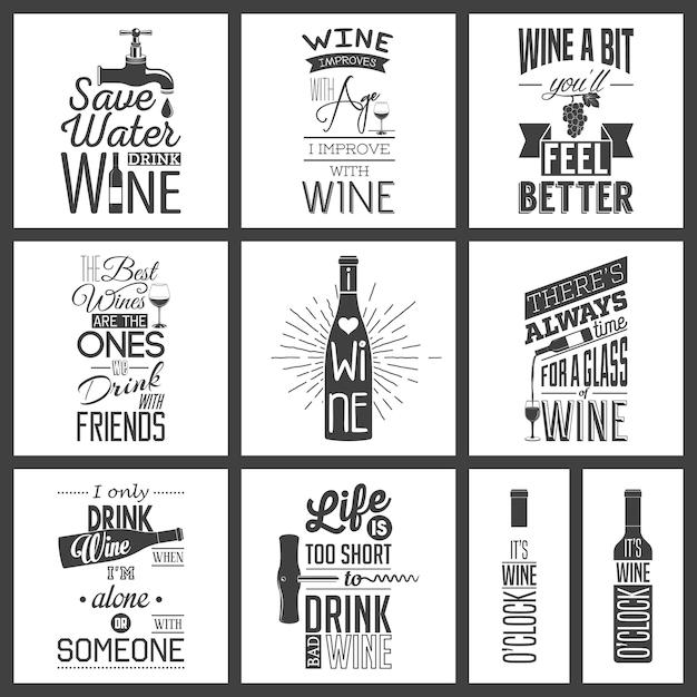 Zbiór Zabytkowych Cytatów Typograficznych Wina Premium Wektorów