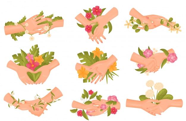 Zbiór Zdjęć Par Rąk Z Bliska Kwiaty I łodygi. Premium Wektorów