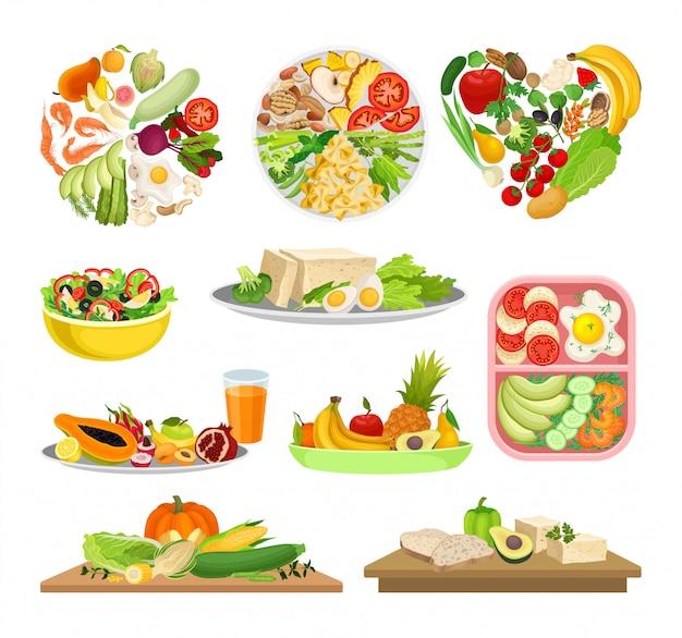 Zbiór Zdjęć Różnych Potraw Z Warzywami. Premium Wektorów