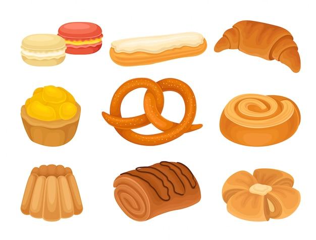 Zbiór Zdjęć Różnych Produktów Piekarniczych. Krater, Ciastka, Chleb. Premium Wektorów