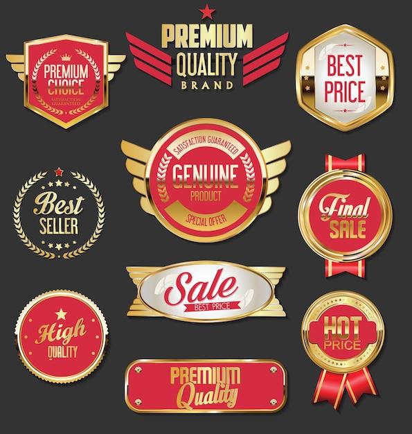 Zbiór Złotych Odznaki Etykiet I Metek Premium Wektorów