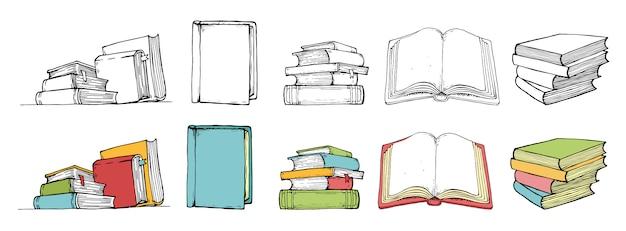 Zbiory kolekcji książek w kolorze i stylu czarnym. wyciągnąć rękę. Premium Wektorów